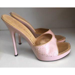 CASADEI PINK / Purple platform stiletto mule Shoes